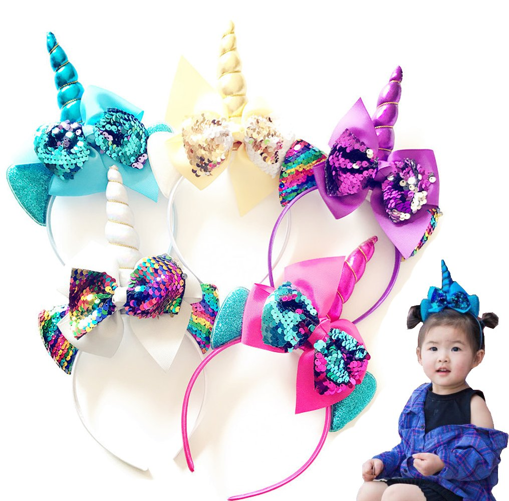 Amazon.com   5PCS Glitter Unicorn Headband Girls Big Sequin Bows Hairband  for Kids Unicorn Birthday Party Supplies (Style-a)   Beauty 3ebea80173f