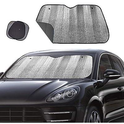 "Big Ant Windshield Sun Shade,Car Side Window Sun Shade as Bonus UV Rays Sun Shade,folded Front Window Shade Sun Visor Shield Shade Keeps Vehicle Cool-Black(55"" x 27.5""): Automotive"