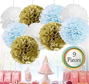 Amfin 9 Pcs 14 Tissue Paper Pom Flower Balls For Birthday