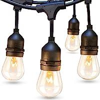 addlon 48 FT Outdoor String Lights Commercial Grade Weatherproof Strand Edison Vintage Bulbs 15 Hanging Sockets, UL…