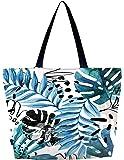 Meffort Inc Lightweight Travel Beach Tote Bag Foldable Reusable Shopping Shoulder Hand Bag, Spring Leaves (Multicolored) - LWSBLG3179