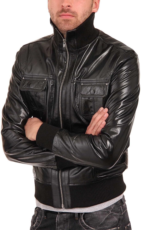 New Mens Genuine Lambskin Leather Slim Fit Biker Motorcycle Jacket for Men P023