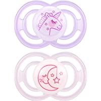 MAM Glow In The Dark Pacifiers, Baby Pacifier 6+ Months, Best Pacifier for Breastfed Babies, Premium Comfort and Oral Care 'Perfect' Collection, Girl, 2-Count