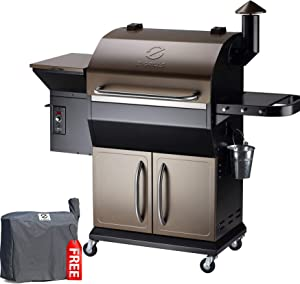 Z GRILLS ZPG-1000D 2021 New Model Wood Pellet Grill & Smoker, 8 in 1 BBQ Grill Auto Temperature Control, 1060 sq in Bronze
