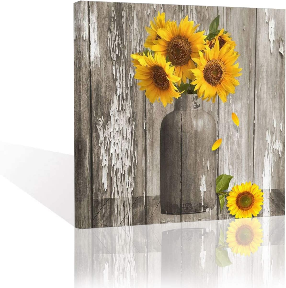 CARRYFUTURE Rustic Floral Country Farmhouse Yellow Sunflower in Vase Contemporary Canvas Artwork Prints Wall Art Decor For Home Living Room Bedroom Office Decoration Framed Ready To Hang 20x20 inch