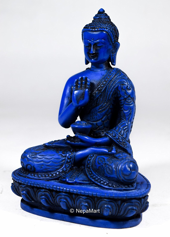Detailed Buddhist RatnaSambha Buddha Religious Figurine Medium Sized from Nepal Red
