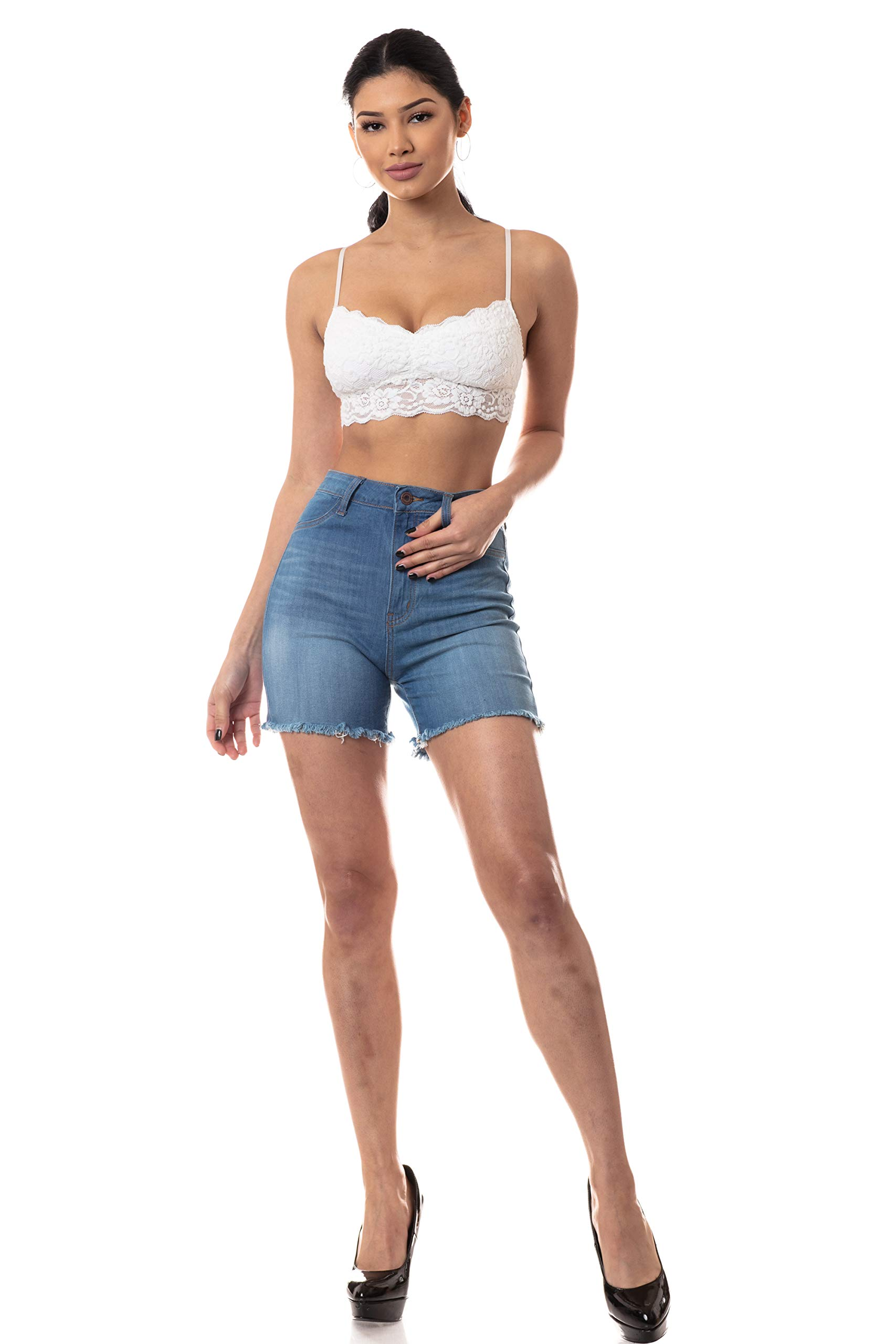 Aphrodite Denim Shorts for Women - High Waisted Hand Sanding Casual Spring Summer Fashion Frayed Short Jeans 6156F Medium Blue XL by AP Blue