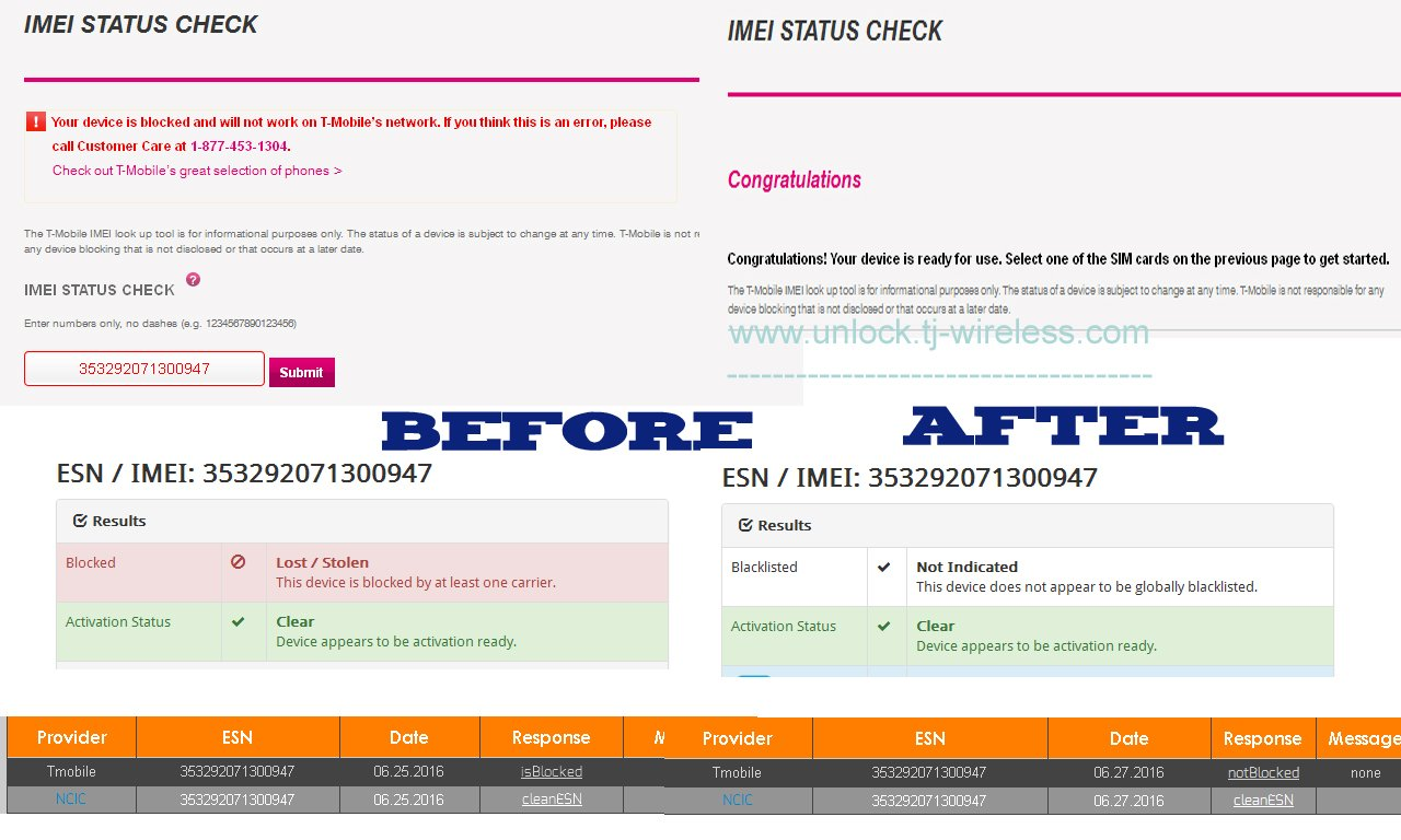 USA - T-Mobile All Brand IMEI Cleaning Service (Clean Lost/Stolen/Blocked  IMEI) (Super Premium) [Server 2] - 1-5 Days