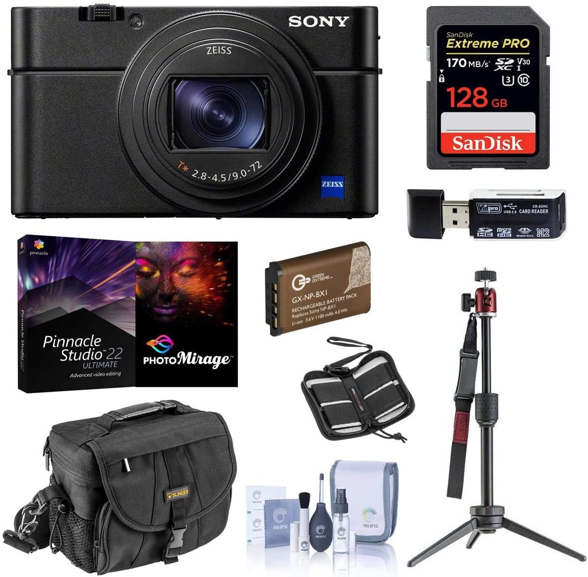 Sony Cyber-Shot DSC-RX100 VII Digital Camera - Bundle with 128GB SDXC U3 Card, Table top Tripod, Camera Case, Spare Battery, Memory Wallet, Cleaning Kit, Card Reader, Pro PC Software Package