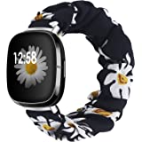 Liwin Scrunchies Bands Compatible with Fitbit Sense/Versa 3, Bands for Women and Girls, Elastic Printed Strap Accessories Rep