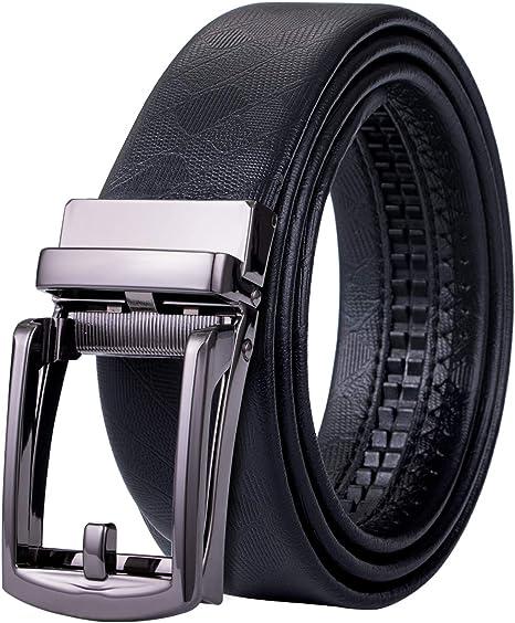 Amazon.com: Hi-Tie - Cinturón negro para hombre con hebilla ...