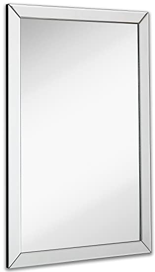 mirror 36 x 24. large flat framed wall mirror with 2 inch edge beveled frame | premium silver backed 36 x 24