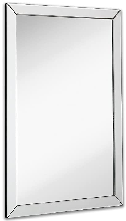 large flat framed wall mirror with 2 inch edge beveled mirror frame premium silver backed - Mirrored Frame