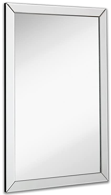Merveilleux Large Flat Framed Wall Mirror With 2 Inch Edge Beveled Mirror Frame |  Premium Silver Backed
