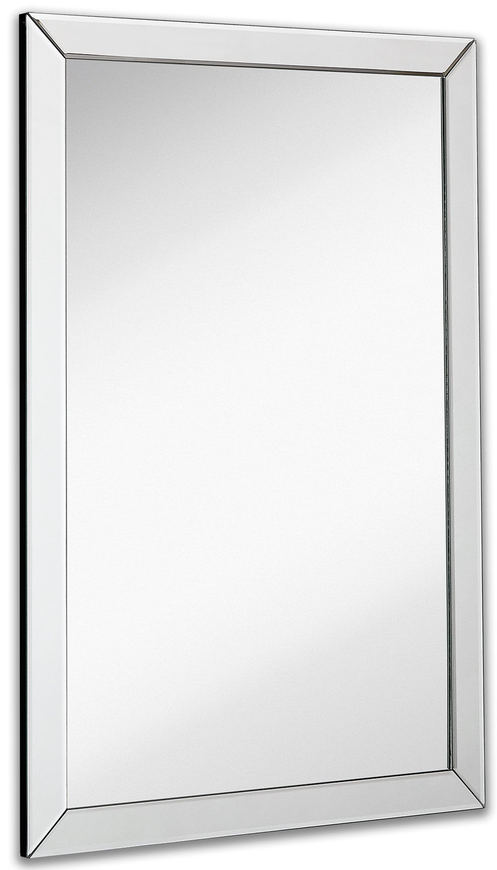 Large Flat Framed Wall Mirror with 2 Inch Edge Beveled Mirror Frame | Premium Silver Backed Glass Panel | Vanity, Bedroom, or Bathroom | Mirrored Rectangle Hangs Horizontal or Vertical (24'' x 36'')