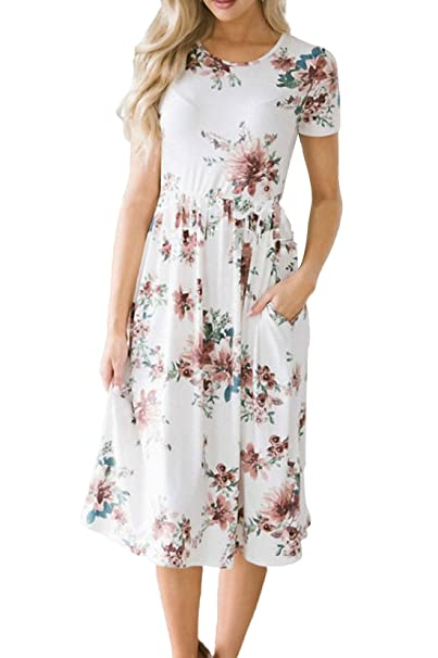 7d223d3fa0d8 Allimy Women Summer Casual Short Sleeve Floral Print Midi Dresses at Amazon  Women s Clothing store