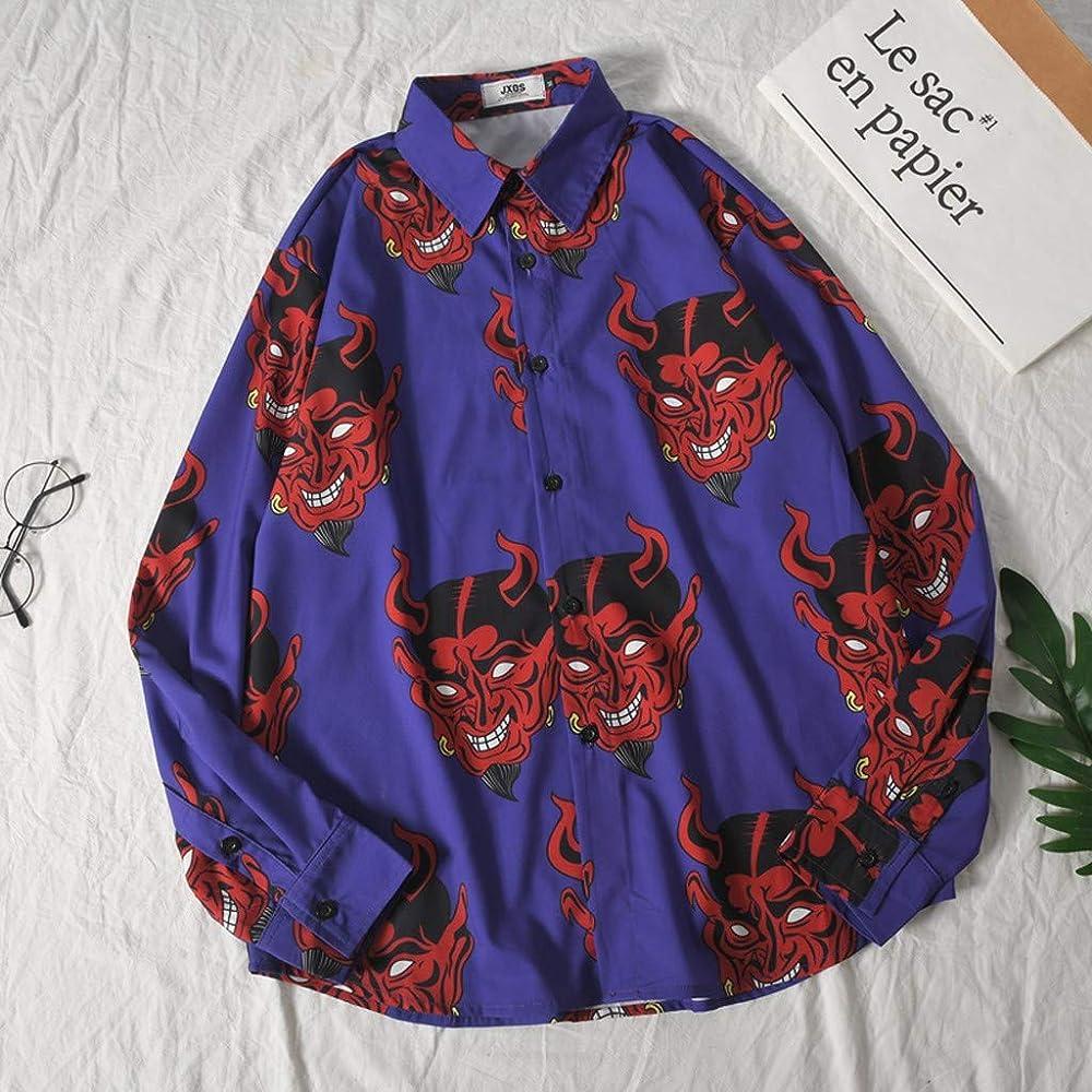 Camisa Hawaiana Hombre, Blusa NavideñA para Hombre de Estampado de Demonio de Casual Manga Larga Suelta Camisas Playa Verano Unisex 3D Estampada Funny Hawaii Shirt Púrpura M: Amazon.es: Ropa y accesorios