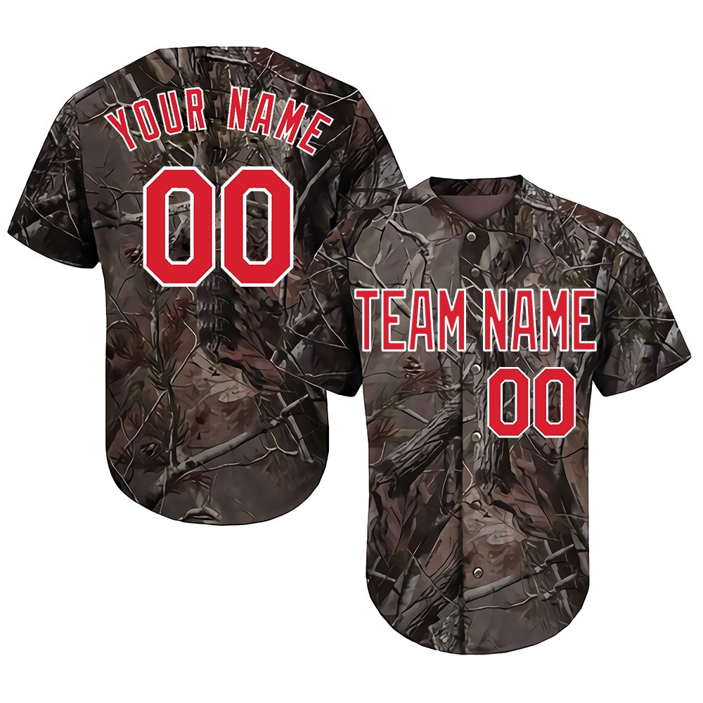 Custom Women's Realtree Camo Baseball Softball Jersey with Embroidered Your Name & Numbers,Red-White Size L by DEHUI
