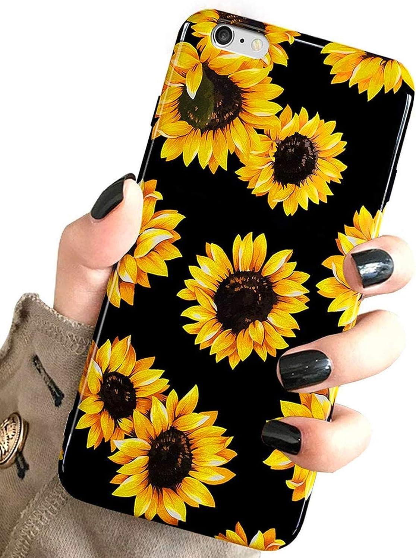 iPhone 6S Plus & iPhone 6 Plus Case Vintage Floral,J.west Cute Yellow Sunflowers Black Soft Cover for Girls/Women Flex Slim fit Design Pattern Drop Protective Case for iPhone 6+ 6s Plus 5.5 inch