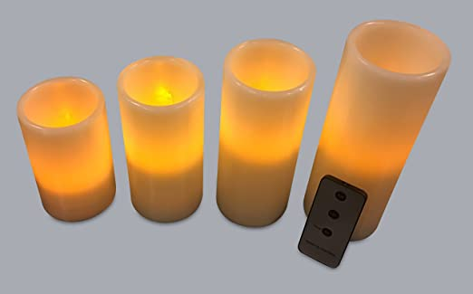 amazoncom flameless candles led pillar candles flickering candles baterry operated with remote control set candles of 4 - Flameless Candles With Timer