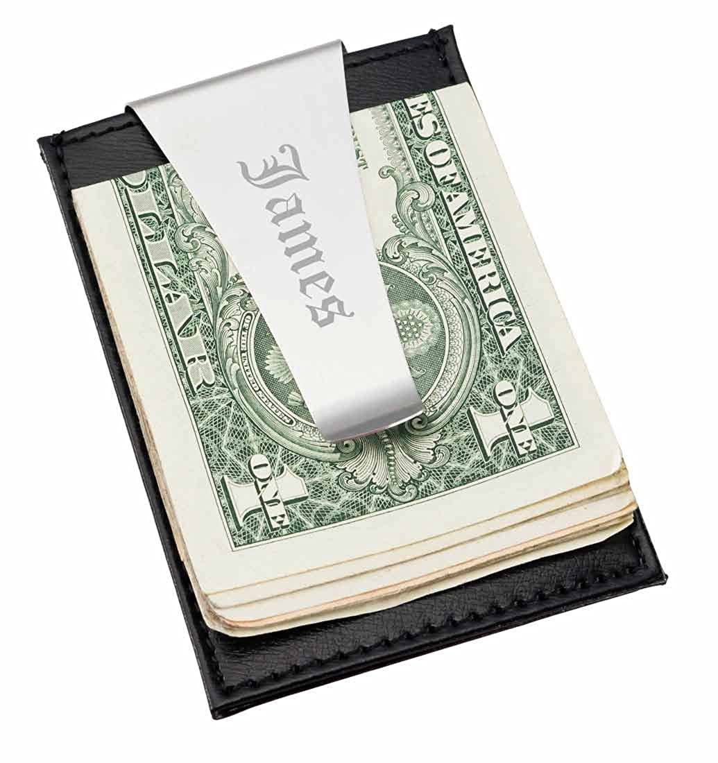 599200ca320f Personalized Visol Oliver Black Leather Money Clip   Card Holder with free  engraving at Amazon Men s Clothing store