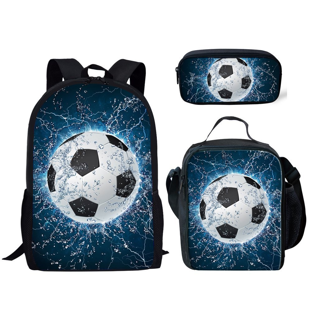 a5874f30005f HUGS IDEA 3 Piece Children School Bag Lightning Soccer Printed Backpack  Lunch Box Pencil Case