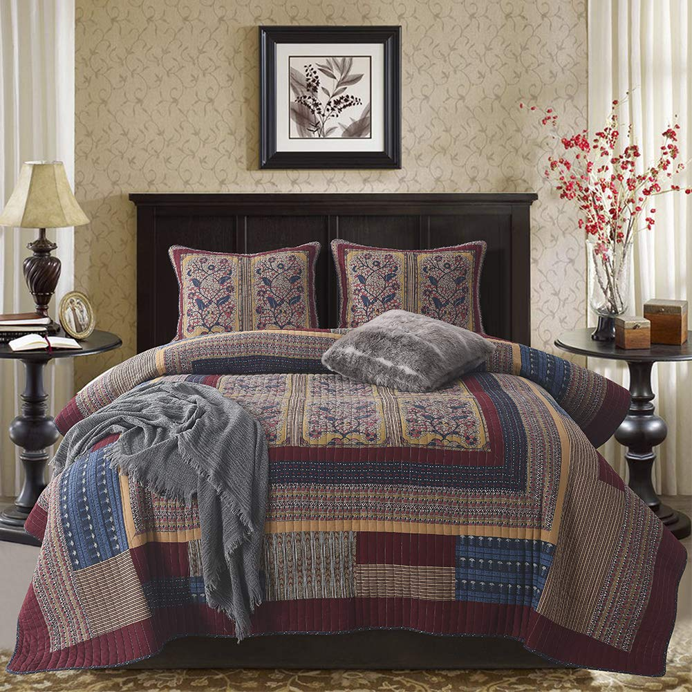 NEWLAKE Bedspread Quilt Set with Real Stitched Embroidery Luxury Floral Pattern,King Size