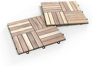 Acacia Hardwood Interlocking Patio Deck Tiles, 12