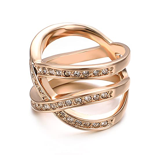 Yoursfs Unique Infinity Rings for Women 18ct Rose Gold Plated Diamante Dress Cross Jewellry Hollow Out Jewellery for Girl's Xmas Present xI0Vl0fa
