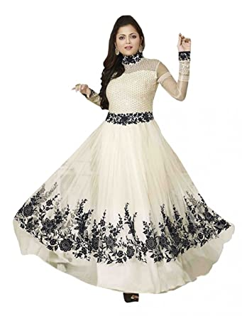 37340a4cd Saiyaji Suit Designer white Color Georgette Embroidered Party Wear Semi  Stitch Anarkali Salwar Suit  Amazon.in  Clothing   Accessories