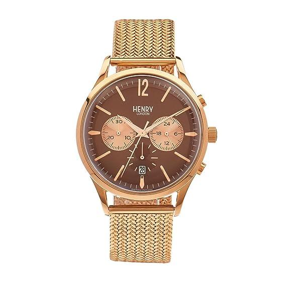 Henry London Reloj Analógico para Unisex de Cuarzo con Correa en Oro Rosa 5018479078197: Henry London: Amazon.es: Relojes