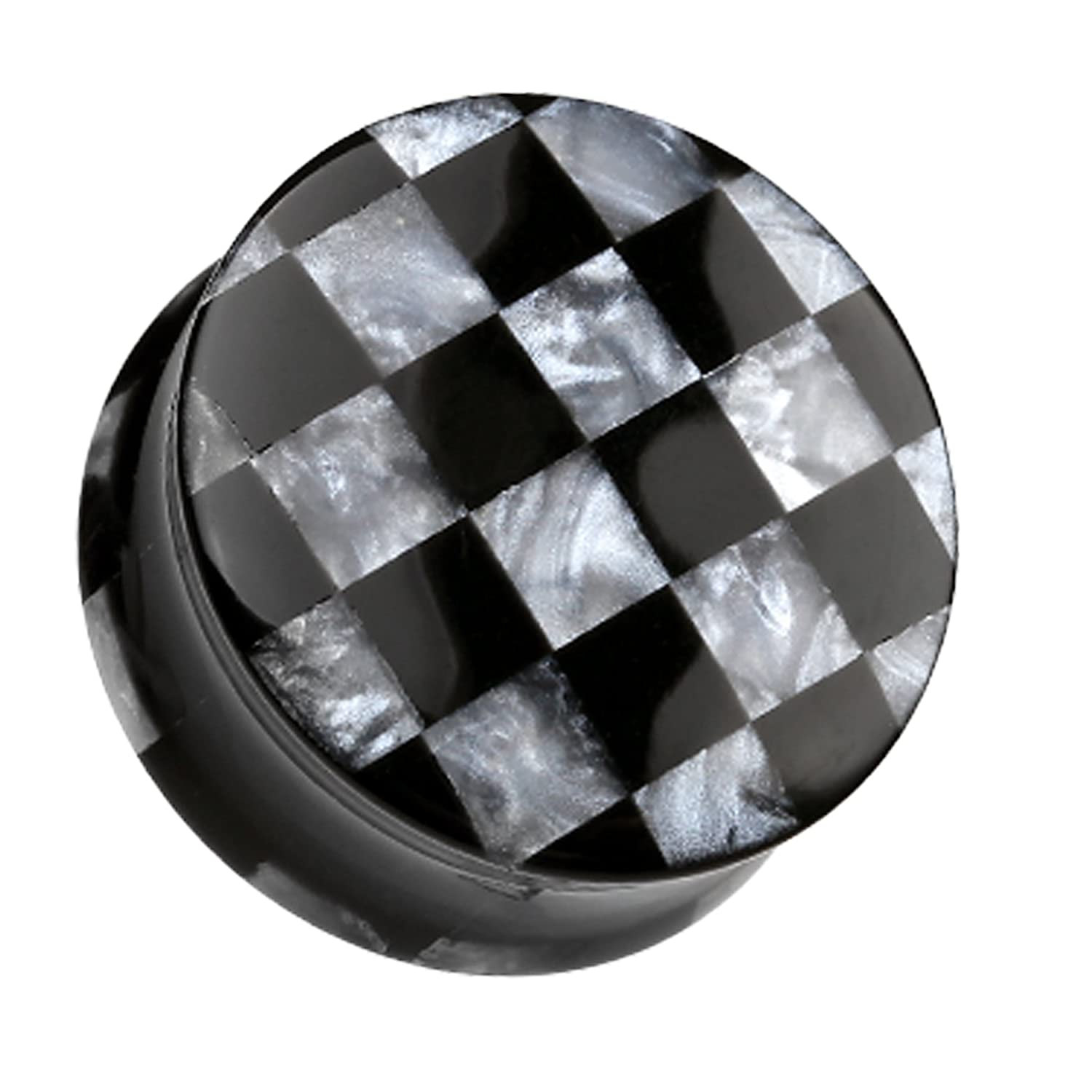 Black Sold as a Pair Marbled Checker Double Flared Ear Plug