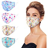 Genovega 4 Packs Adult Fashionable Reusable and Washable Face Mask,Cute Design for Women Men