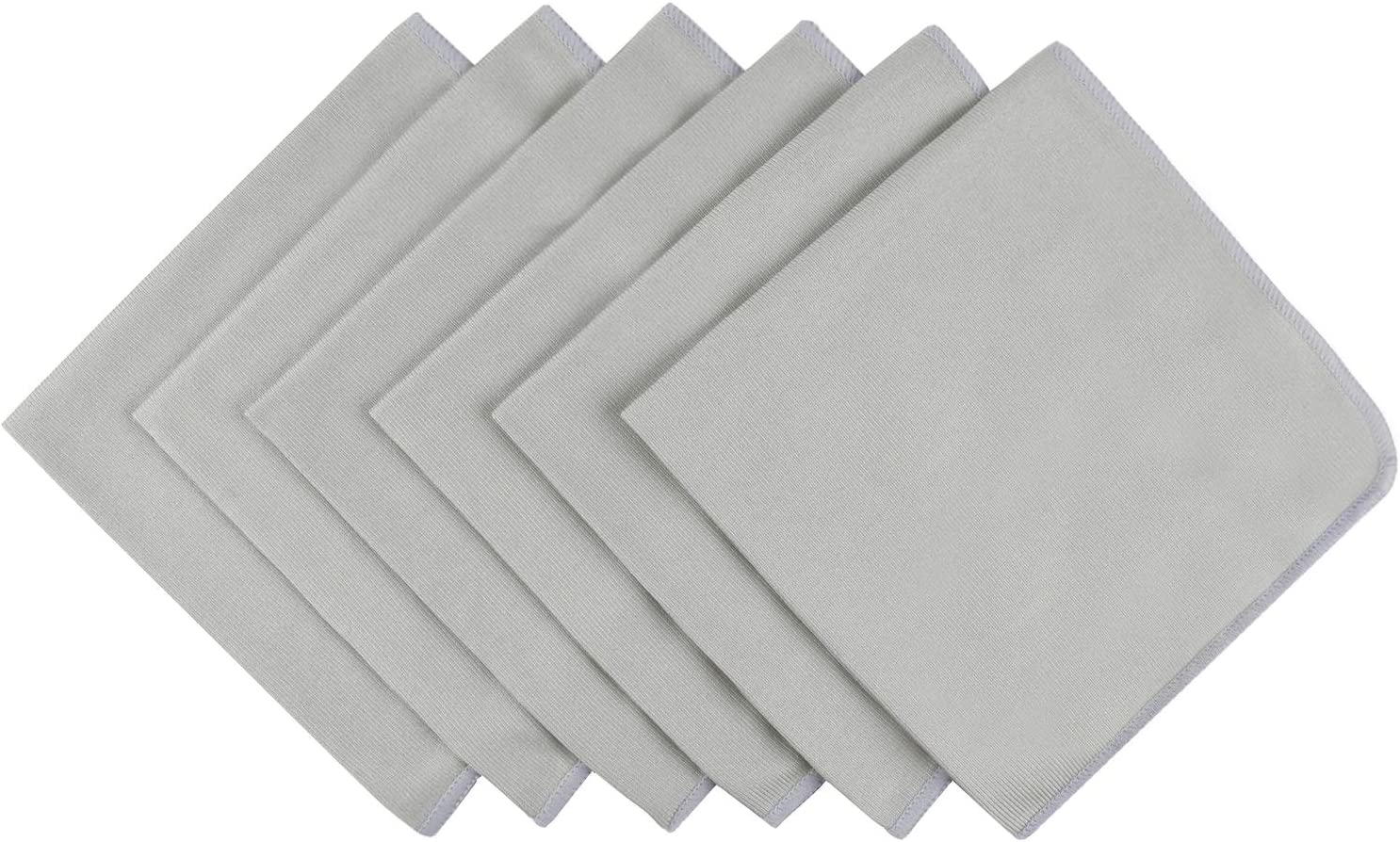 Microfiber Lint Free Rags Glass Window Cleaning Cloths Scratch Free Polishing Cloths for Glassware Dishes Car Stainless Steel Appliances Mirrors Screens Camera Lenses etc 16Inch x 16Inch 6 Pack Grey