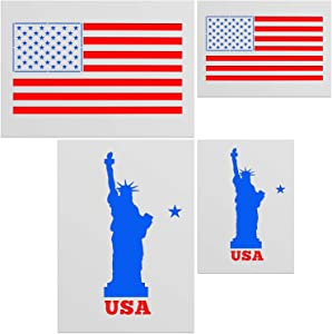 American Flag Star Stencil Templates - 4 Pack American Flag & Statue of Liberty Stencils for Painting on Wood and Walls, Durable Plastic Stencils in 2 Sizes for Wood Burning & Wall Art