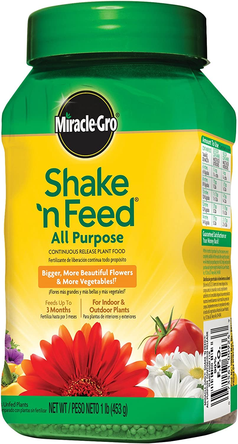 Miracle-Gro Shake 'n Feed All Purpose Continuous Release Plant Food, 1-Pound (Slow Release Plant Fertilizer)