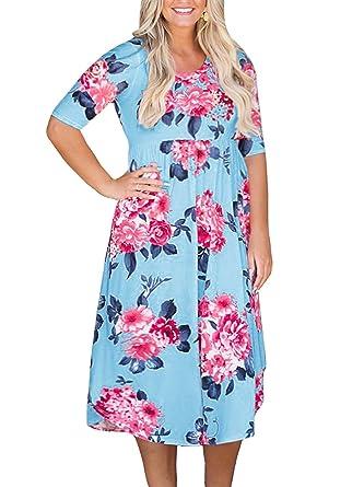Yskkt Womens Floral Midi Dresses Plus Size Half Sleeve Casual Swing