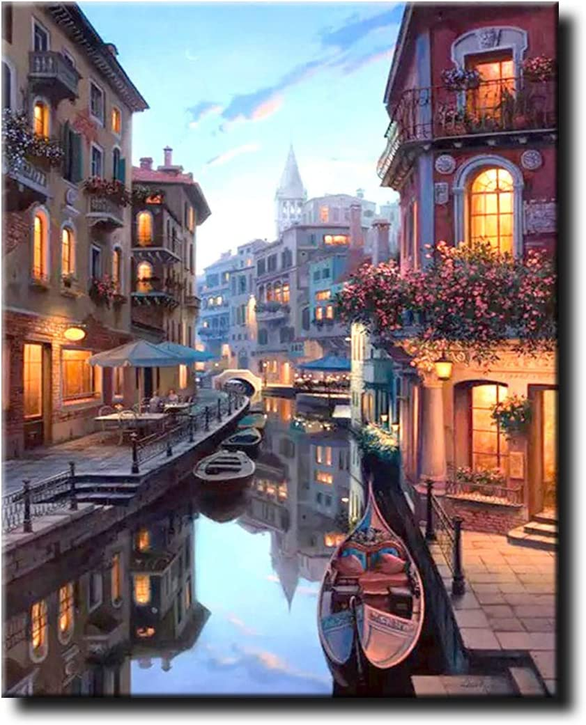 Shukqueen DIY Paint by Numbers for Adults DIY Oil Painting Kit for Kids Beginner Venice 20x26 Inch Without Frame