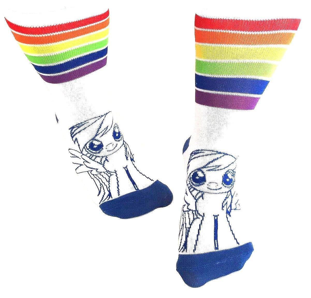 My Little Pony Rainbow Dash Striped Juniors Cartoon Crew Socks Sock Size: 9-11, Fits Shoe Size: 5-10