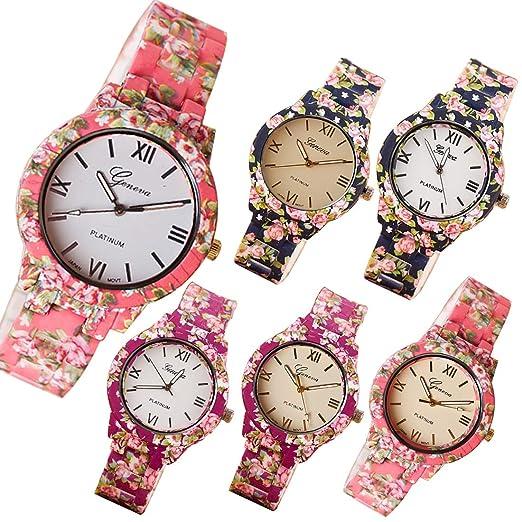 1f69bb958a40 Reloj de Cuarzo Vestido de Mujer Vestido de Mujer Flor Ginebra Reloj de  plástico Relogio Feminino Relojes Mujer  Amazon.es  Relojes