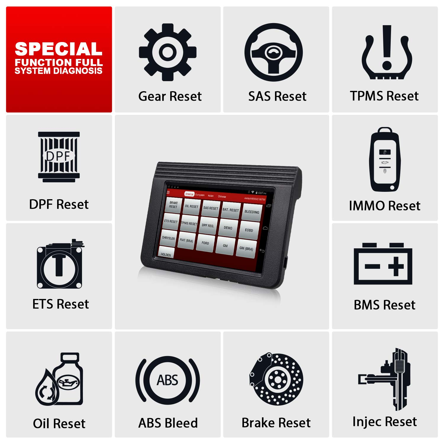 LAUNCH X431 V (X431 Pro) Bi-Directional OBD2 Diagnostic Scanner,ECU Coding Key Fob Programming, ABS Bleeding Brake, Reset Functions Oil Reset, TPMS,EPB, SAS, DPF, BMS, SRS - 2 Years Free Update & Case by LAUNCH (Image #7)