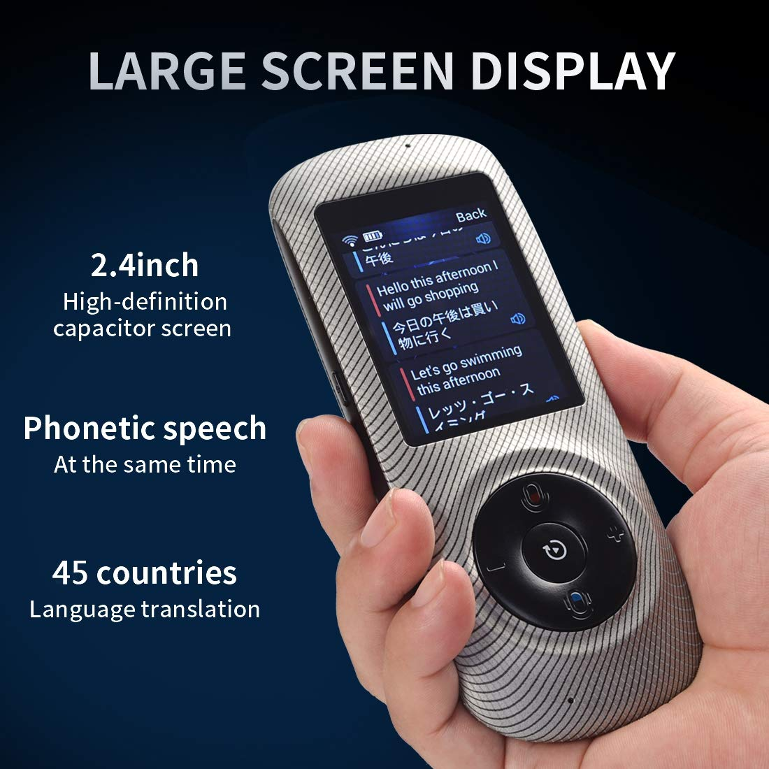 Instant Voice Translator Device Translation 45 Languages Smart 2 Way WiFi 2.4inch IPS Capacitive Touch Screen by Aspiring (Image #2)