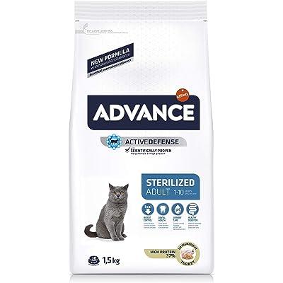 Advance Sterilized-Pienso para Gatos Adultos Esterilizados con Pavo Y Cebada-1.5 Kg, Multicolor, 1500