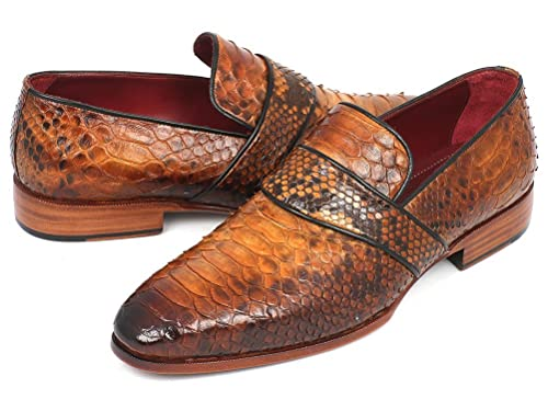 2aa2b2f4cb4 Paul Parkman Men s Handmade Shoes Genuine Crocodile Purple Calfskin Black  Purple Loafers (PM5207)