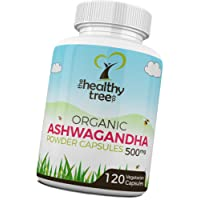 Gélules de Ashwagandha BIO 500mg x 120 - Herbe ayurvédique pour équilibrer l'esprit et le corps avec withanolides (5%) - Ashwagandha Gélules par TheHealthyTree Company