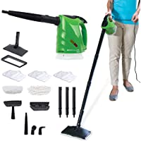 H2O SteamFX Pro with Additional 2pk Microfiber Floor Pads 5 in 1 All Purpose Hand Held Portable Steam Cleaner System for Home Use, Complete 12 Piece Accessory Kit