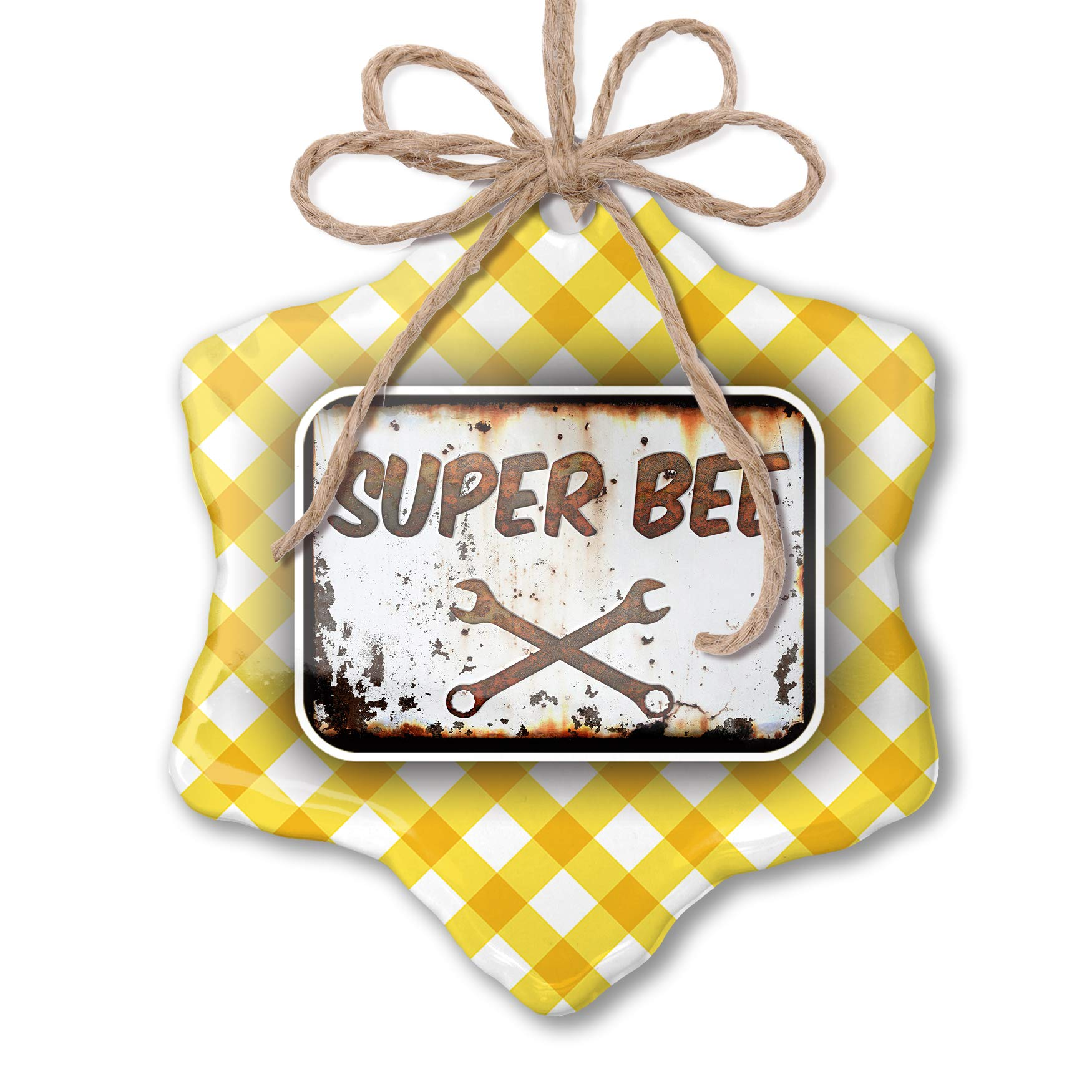 NEONBLOND Christmas Ornament Rusty Old Look car Super Bee Yellow Plaid