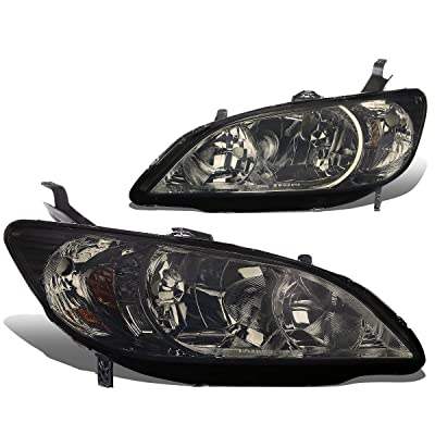 DNA Motoring HL-OH-038-SM-AM Headlight Assembly, Pair (04-05 Honda Civic 2/4 Door),Smoked amber: Automotive