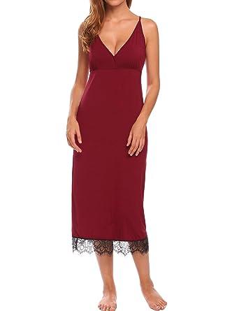 2c0c471326 Ekouaer Nightgown Women s Lace Long Nightwear Chemise Full Slip ...