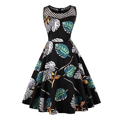 KHGYSJ Floral Print Hepburn 50s Style Vintage Dress Elegant ...